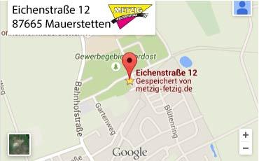 Anfahrt zu Metzig-Werbesysteme MAuerstetten bei KAufbeuren im Ostallgäu:Werbung & Beschriftung in Mauerstetten - Metzig ist fetzig!